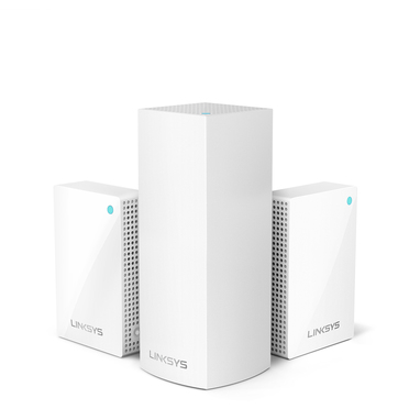 Linksys Velop Intelligent Mesh WiFi System, Tri-Band, 3-Pack with Plug-Ins (AC4800)  -$ HeroImage