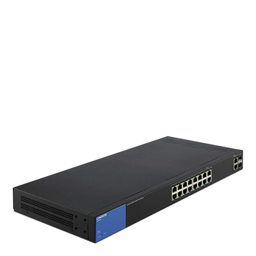 Linksys Business LGS318P 16-Port Gigabit PoE+ (125W) Smart Managed Switch + 2x Gigabit SFP/RJ45 Combo Ports -$ FrontViewImage