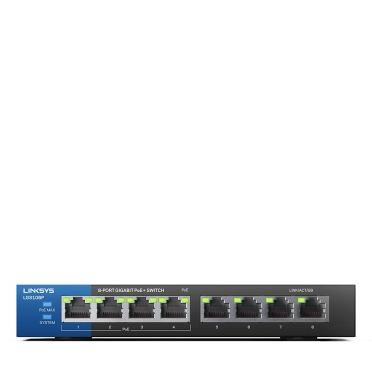Linksys LGS108P 8-Port Business Desktop Gigabit PoE+ Switch -$ HeroImage