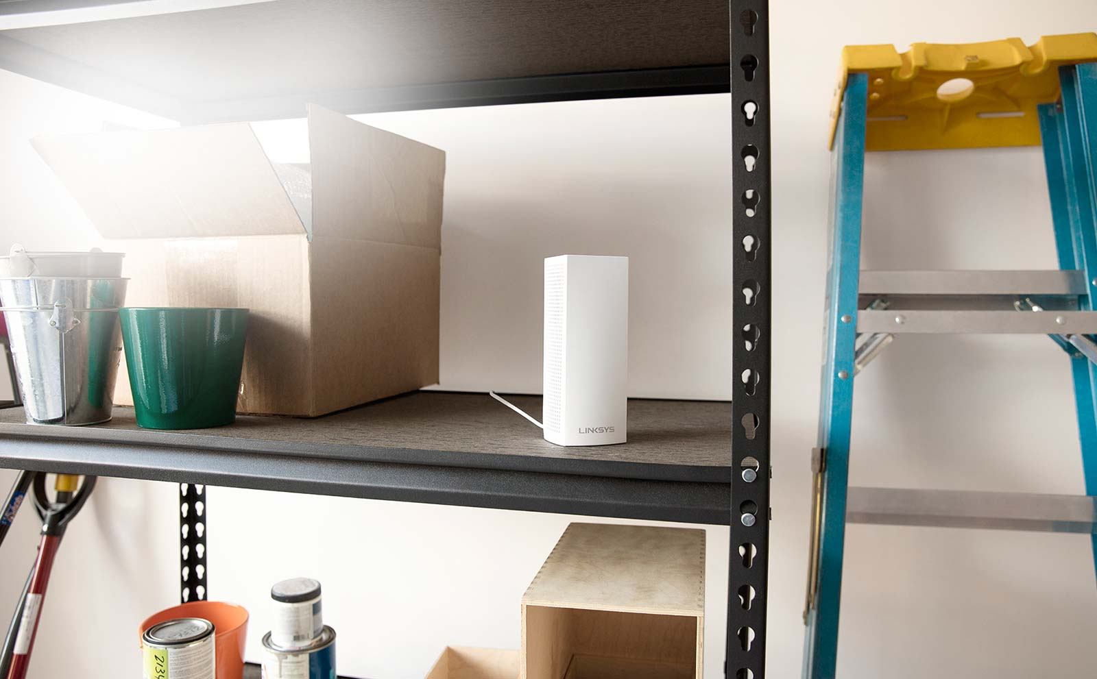 Velop node on a garage shelf