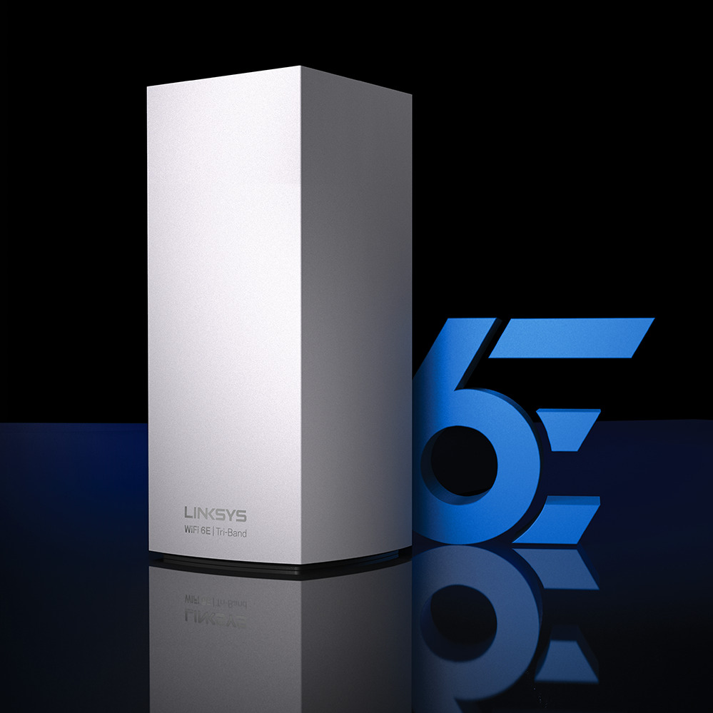 Linksys Atlas Max 6E (AXE8400) displayed next to a large blue WiFi 6E symbol