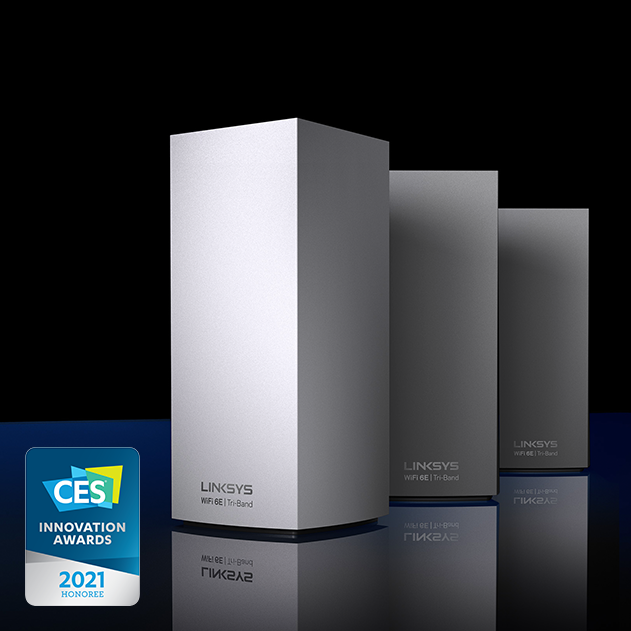Product shot of Linksys Atlas Max 6E displayed next to a CES 2021 Innovations Awards badge