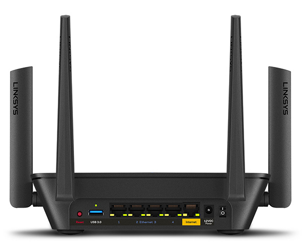 Back of the Linksys Max-Stream AC3000 MU-MIMO WiFi Tri-Band Router