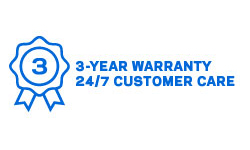 3-Year Warranty, 24/7 Customer Care Icon