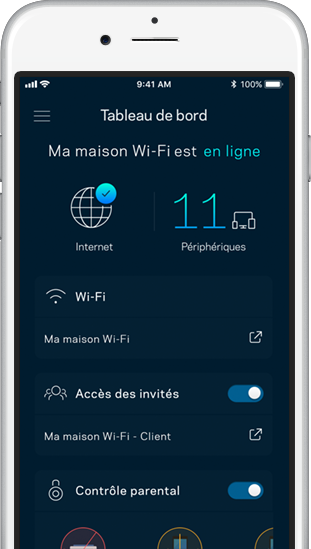 Application Linksys sur écran principal